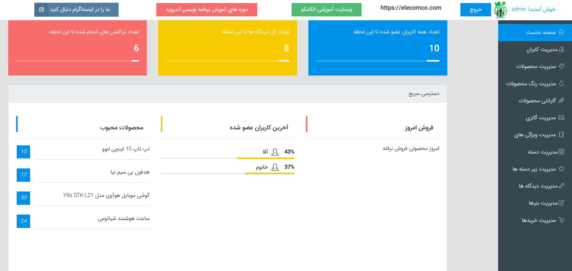 پنل مدیریت اپلیکیشن دیجی کالا - الکامکو